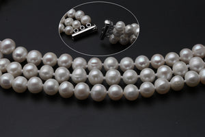 3 rows natural pearl necklace