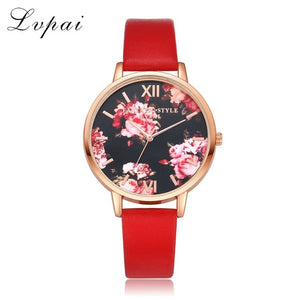 Women Bracelet Rose Gold Flowers Watch