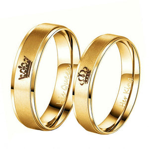 King And Queen Stainless Steel Crown Couple Rings