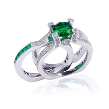Load image into Gallery viewer, Fashion Princess-cut Green Gemstone Ring