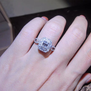 18K White Gold & Diamond Princess Wedding Ring