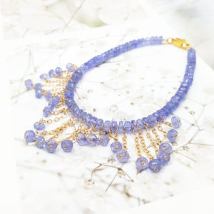 Natural Gemstone Tanzanite 9K GF/18K Yellow Gold Tassel Bracelet