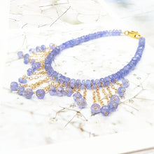 Load image into Gallery viewer, Natural Gemstone Tanzanite 9K GF/18K Yellow Gold Tassel Bracelet