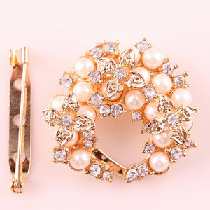 Handmade Flower Pearl Silk Scarf Brooches