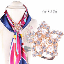 Load image into Gallery viewer, Handmade Flower Pearl Silk Scarf Brooches