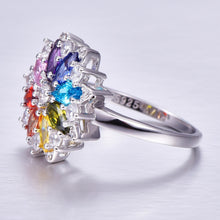 Load image into Gallery viewer, Fine Jewelry Peridot &Tanzanite & Pink & Amethyst Sapphire Garnet Topaz Wedding  Solid 925 Sterling Silver Ring