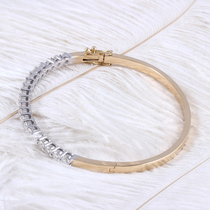 14K 585 Yellow Gold and White Gold Moissanite Bangle Bracelets