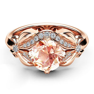 Butterfly Rose Gold Wedding Ring Rhinestone Bow