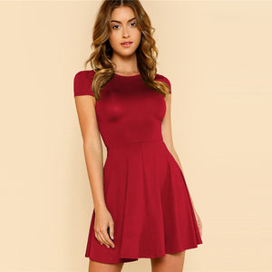 Black&Burgundy Wokwear Elegant Women Dress 2019 Summer