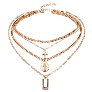 Bohemia Gold Color Cross Layered Necklace