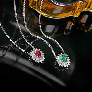 Natural Red Ruby Pendant Chain 14K White Gold with 0.33ct H SI Diamonds Necklace