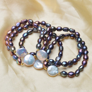 Natural Black Baroque Pearl Bracelet