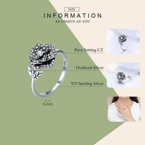 Rose Flower Dazzling CZ Tree Leaf Finger Rings