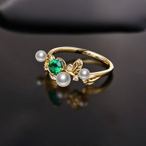 14k Yellow Gold Natural 0.32ct Emerald with Pearl & Diamond Vintage Design Ring