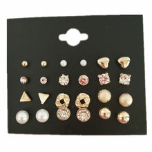Load image into Gallery viewer, Handmade Fashion 12 pair/set Women Square Crystal Heart Stud Earrings