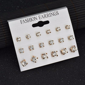 Handmade Fashion 12 pair/set Women Square Crystal Heart Stud Earrings