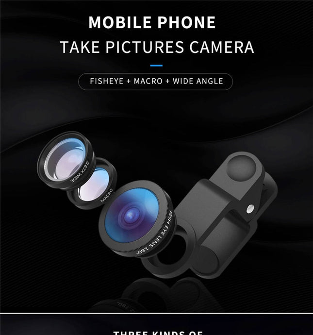 Portable 3 in 1 Phone Camera Lens for Mobile Phone