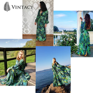 Vintacy Long Sleeve Dress, Tropical Beach