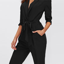Load image into Gallery viewer, Plain Black Office Ladies Workwear Jumpsuit 2019