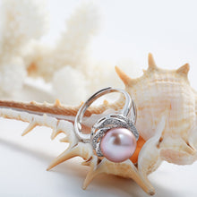 Load image into Gallery viewer, BIG DISCOUNT Silver big white/pink/purple pearl ring