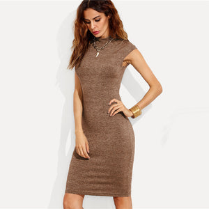Plain Knit Workwear Elegant Pencil Dress 2019
