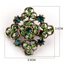 Load image into Gallery viewer, Retro Crystal Antique Gold Flower Brooches