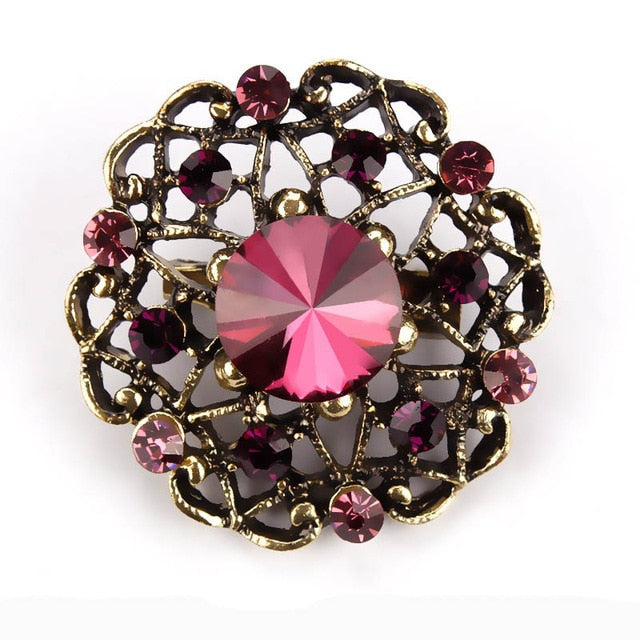Retro Crystal Antique Gold Flower Brooches