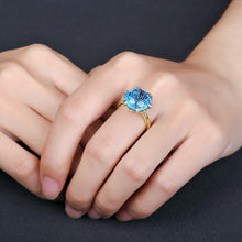 Load image into Gallery viewer, 14kt Yellow White Gold 9.68ct Blue Topaz H SI Diamond Ring