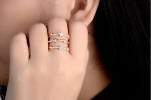 Hot Fashion Silver Multi-Layer Ring