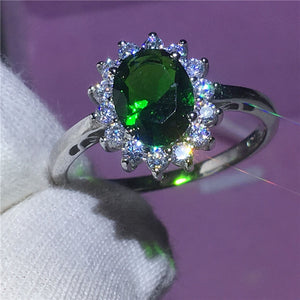Lady Diana Silver ring 5A Green zircon Stone