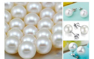High Quality Silver Pearl Stud Earrings