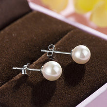 Load image into Gallery viewer, High Quality Silver Pearl Stud Earrings