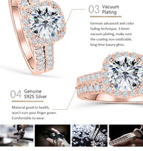 Load image into Gallery viewer, Silver 1.5 carat Moissanite halo wedding rings set