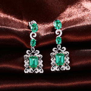14K Multi-Tone Gold 3.68CT Natural Emerald and Diamonds Earrings