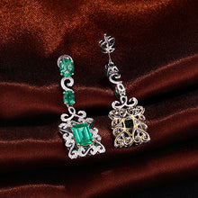 Load image into Gallery viewer, 14K Multi-Tone Gold 3.68CT Natural Emerald and Diamonds Earrings