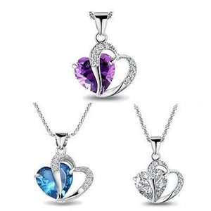 925 Sterling Silver + Amethyst Heart Pendant Necklace