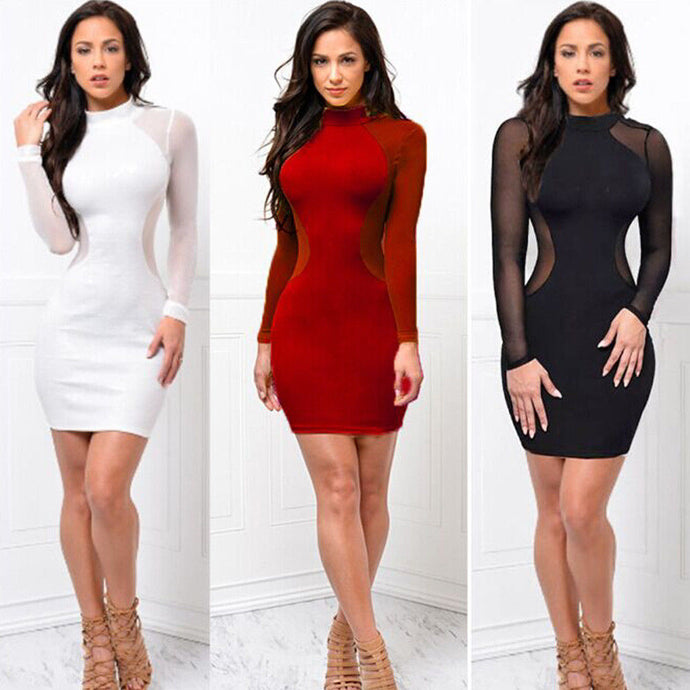 New Women Skinny Bodycon Long Sleeve Sheer Dress