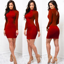 Load image into Gallery viewer, New Women Skinny Bodycon Long Sleeve Sheer Dress