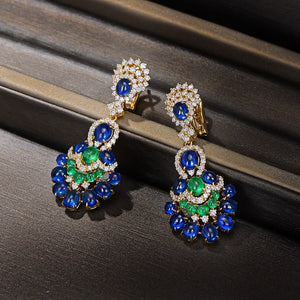 Gorgeous Natural 14.29ctw Blue Sapphires Emeralds and Diamonds Earrings