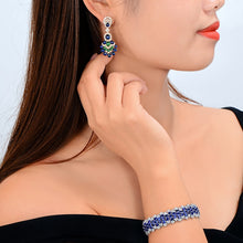 Load image into Gallery viewer, Gorgeous Natural 14.29ctw Blue Sapphires Emeralds and Diamonds Earrings