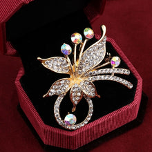 Load image into Gallery viewer, Elegant Peacock Butterfly Rhinestone Brooch