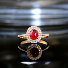 Load image into Gallery viewer, Claw Prongs 1.21ct Natural Cabochon Cut Ruby Halo Diamond 14kt Yellow Gold Engagement Wedding Ring