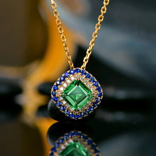 Load image into Gallery viewer, Lovely Antique Emerald Pendant Natural Diamond and Sapphire