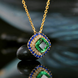 Lovely Antique Emerald Pendant Natural Diamond and Sapphire
