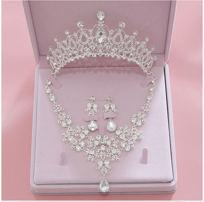 3PCS Rhinestone Crystal Bridal Jewelry Sets (Necklaces Earrings Tiaras)