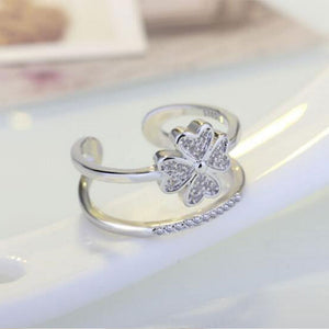 Silver Lucky Clover Multi-layer Resizable Ring