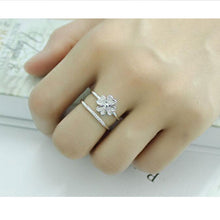 Load image into Gallery viewer, Silver Lucky Clover Multi-layer Resizable Ring
