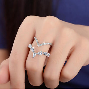 Silver Irregular Double Layer Zircon ring