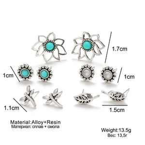 4Pairs /Set Silver Earrings