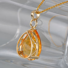 Load image into Gallery viewer, 12.87ct Natural Citrine & 0.13ct H SI1 Diamonds 18K Yellow Gold Engagament Pendant